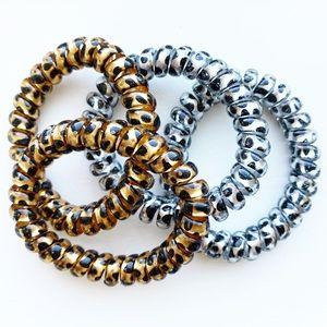 Set of animal print phone cord bracelets